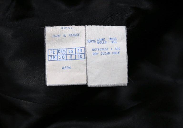 1980's AZZEDINE ALAIA black gabardine wool maxi coat with full skirt For Sale 3