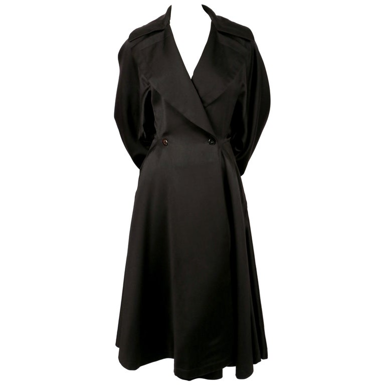 1980's AZZEDINE ALAIA black gabardine wool maxi coat with full skirt For Sale