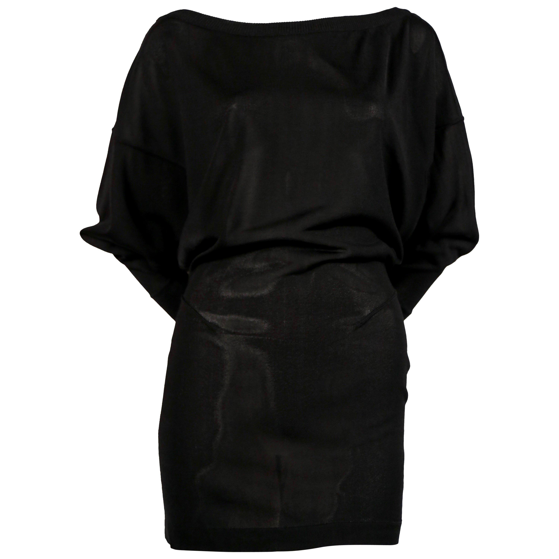 1980's AZZEDINE ALAIA black mini dress with open V shaped back