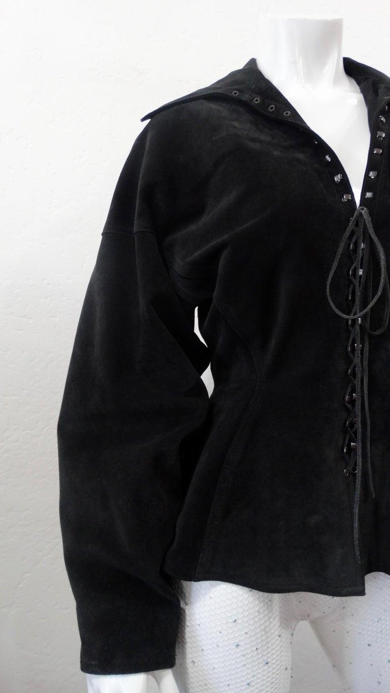 1980s Azzedine Alaia Black Suede Corset Jacket For Sale 6