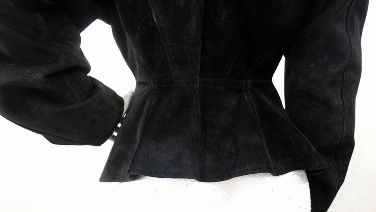 1980s Azzedine Alaia Black Suede Corset Jacket For Sale 7