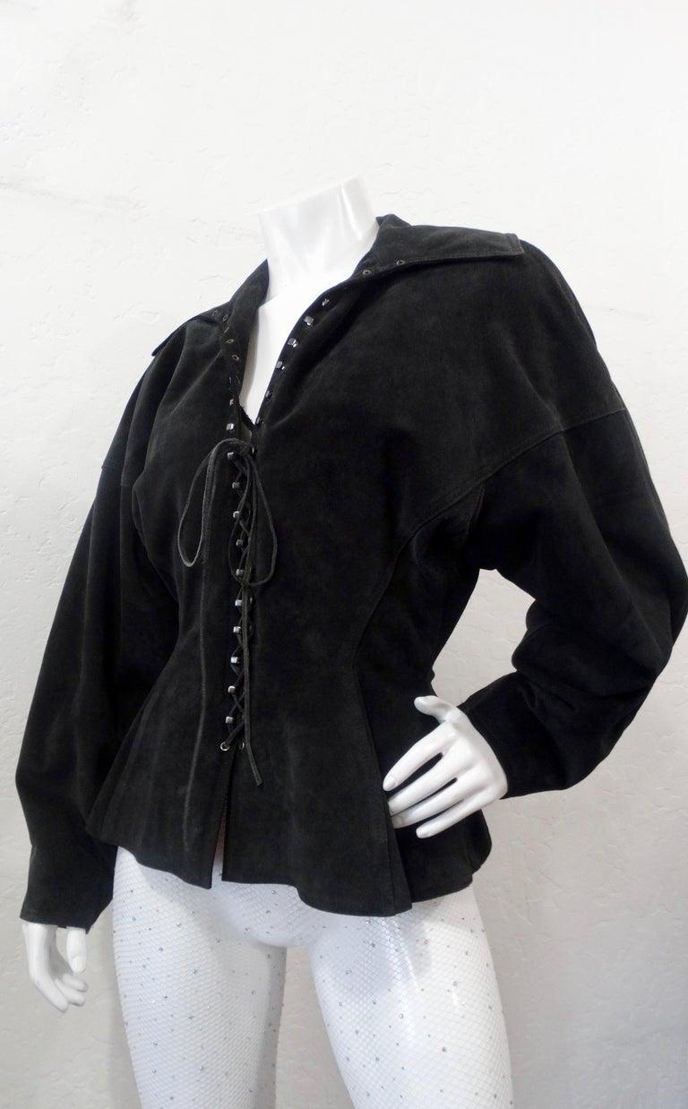 1980s Azzedine Alaia Black Suede Corset Jacket For Sale 8