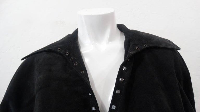 1980s Azzedine Alaia Black Suede Corset Jacket For Sale 9