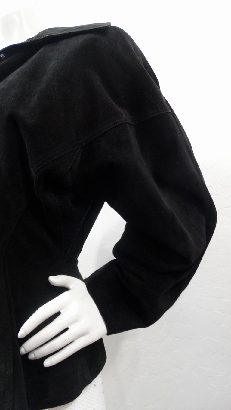 1980s Azzedine Alaia Black Suede Corset Jacket In Good Condition For Sale In Scottsdale, AZ