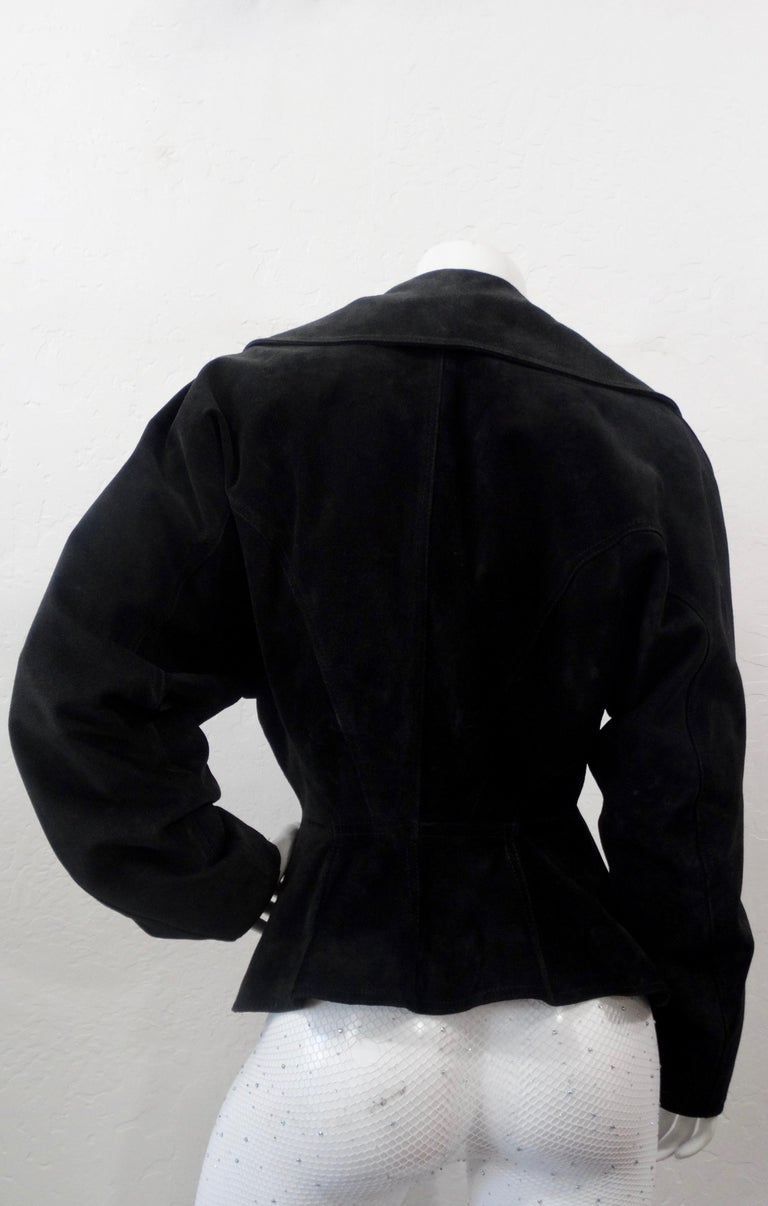 Women's or Men's 1980s Azzedine Alaia Black Suede Corset Jacket For Sale