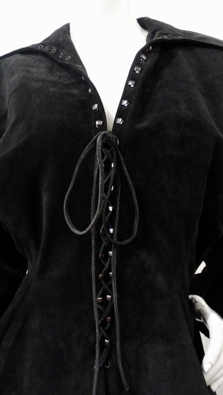 1980s Azzedine Alaia Black Suede Corset Jacket For Sale 1