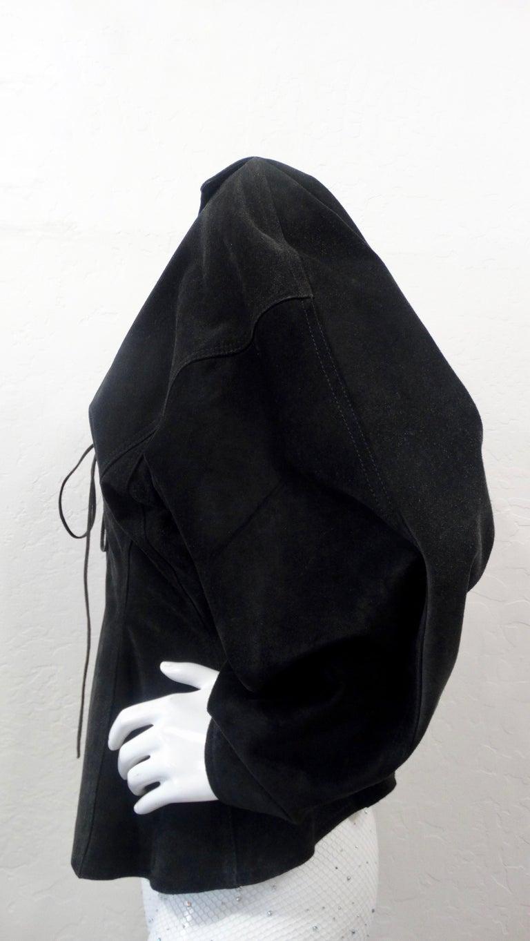1980s Azzedine Alaia Black Suede Corset Jacket For Sale 2