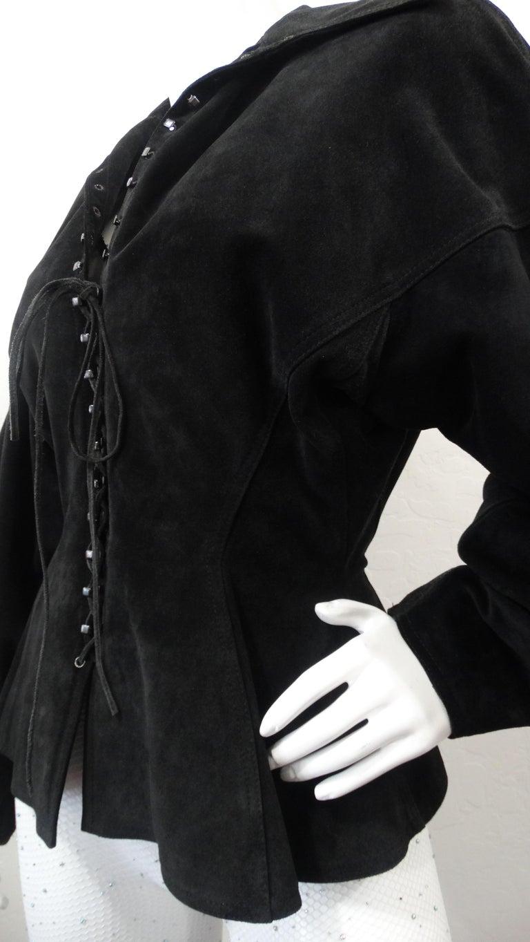 1980s Azzedine Alaia Black Suede Corset Jacket For Sale 4
