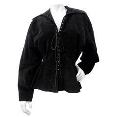 Azzedine Alaia 1980s Black Suede Corset Jacket