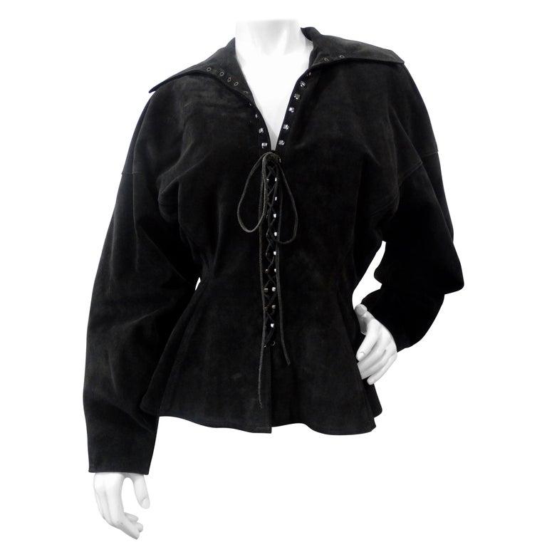 1980s Azzedine Alaia Black Suede Corset Jacket For Sale