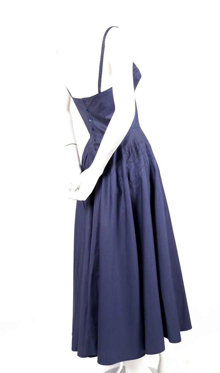 Blue Azzedine Alaia blue cotton bustier dress with button back, 1980s  For Sale