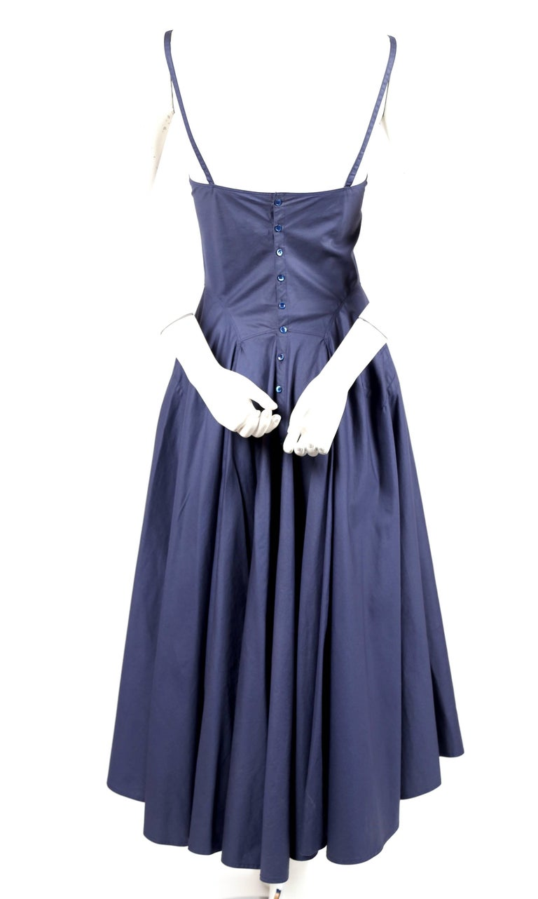 Azzedine Alaia blue cotton bustier dress with button back, 1980s  In Excellent Condition For Sale In San Fransisco, CA