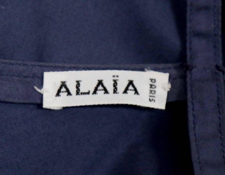 Women's Azzedine Alaia blue cotton bustier dress with button back, 1980s  For Sale