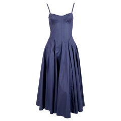 1980's AZZEDINE ALAIA blue cotton bustier dress with full button back