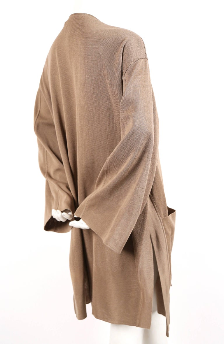 Brown 1980's AZZEDINE ALAIA oversized tan cardigan sweater jacket with pockets For Sale