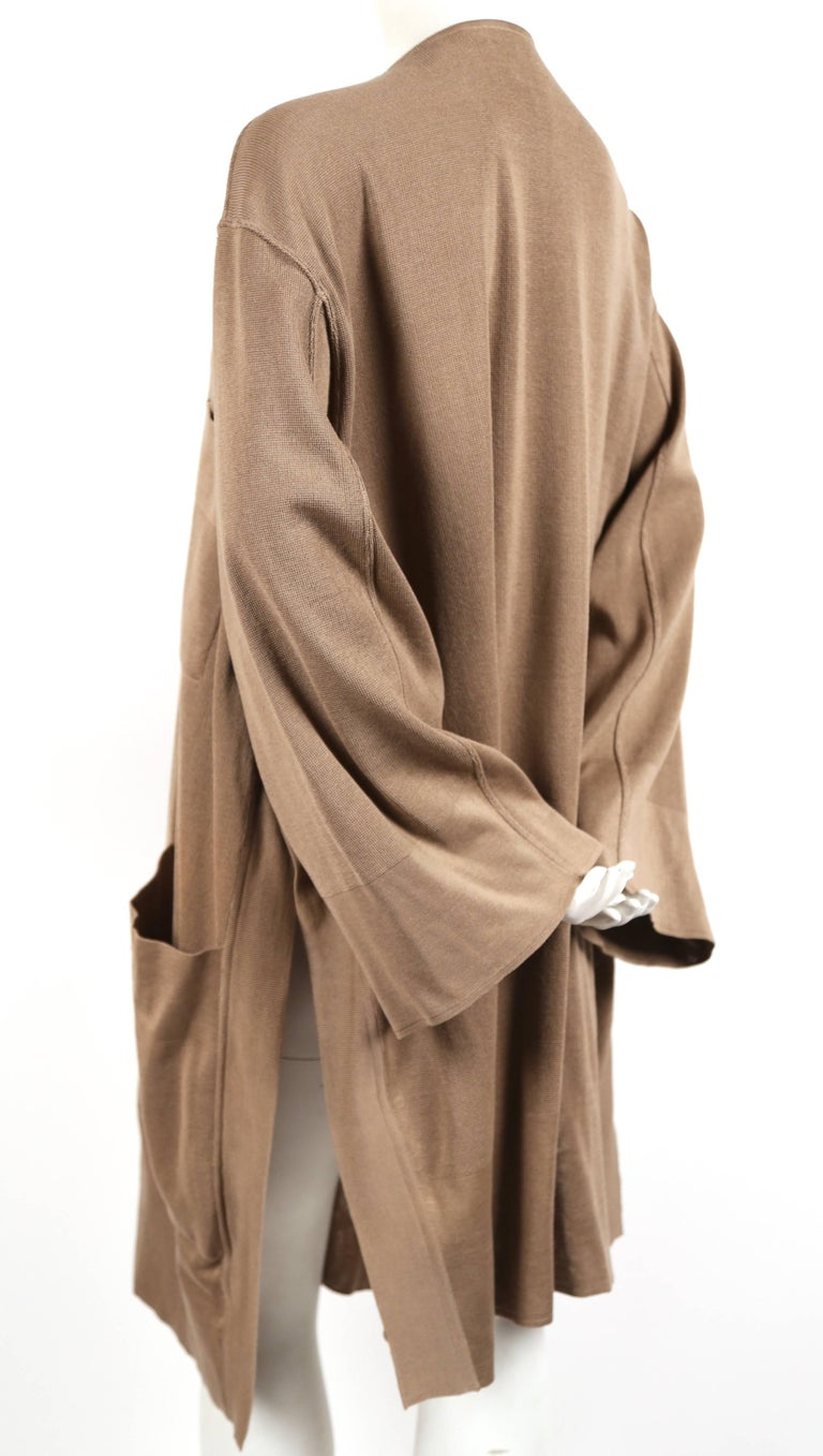 1980's AZZEDINE ALAIA oversized tan cardigan sweater jacket with pockets In Good Condition For Sale In San Fransisco, CA