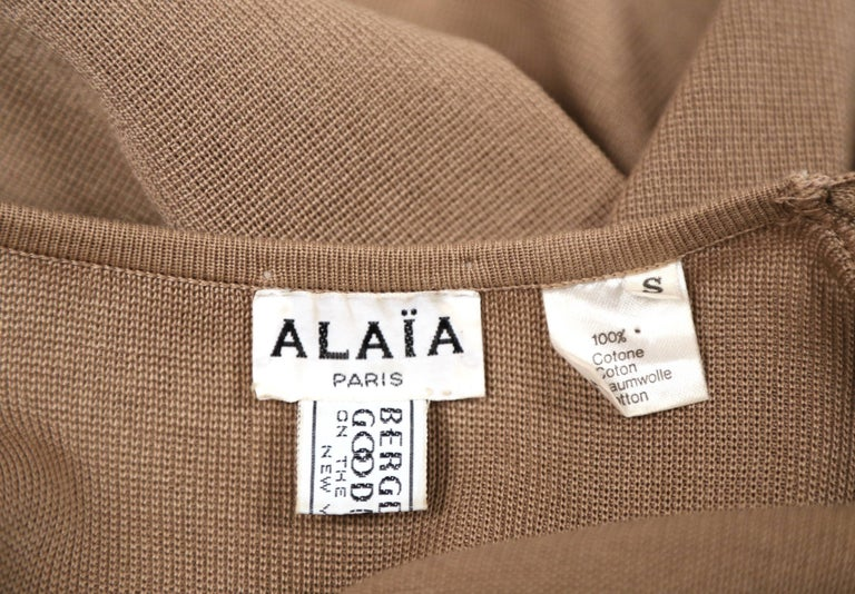 1980's AZZEDINE ALAIA oversized tan cardigan sweater jacket with pockets For Sale 1