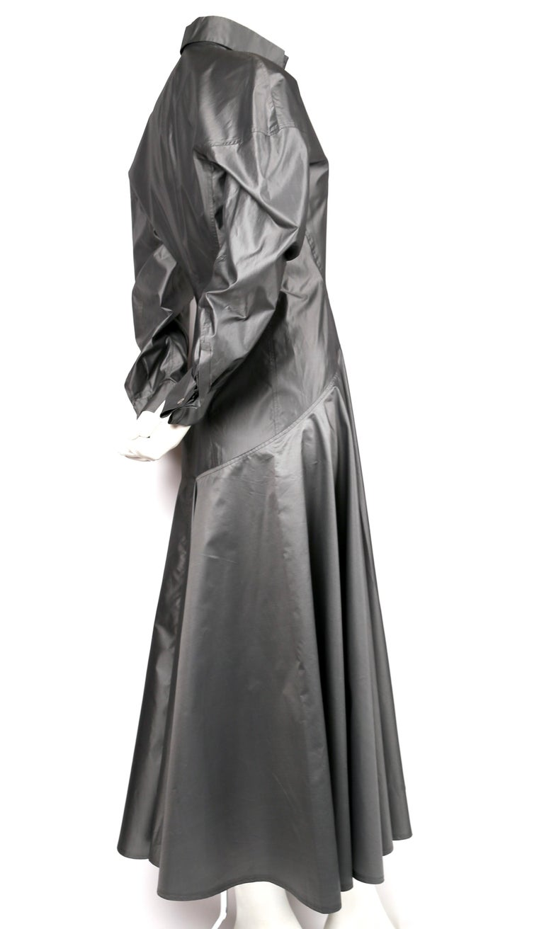 1980's AZZEDINE ALAIA seamed gunmetal silk dress In Excellent Condition For Sale In San Fransisco, CA