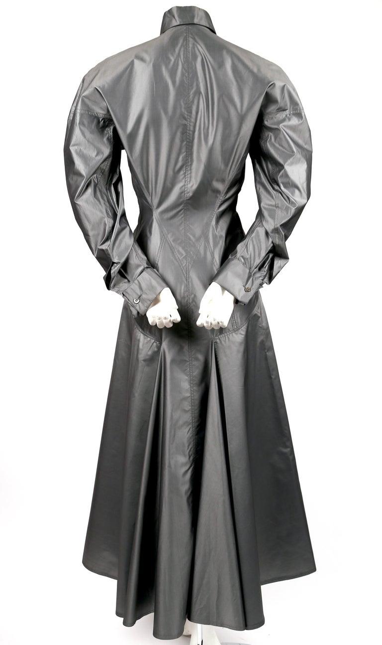 Women's or Men's 1980's AZZEDINE ALAIA seamed gunmetal silk dress For Sale