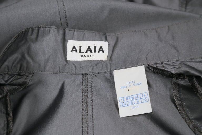 1980's AZZEDINE ALAIA seamed gunmetal silk dress For Sale 1