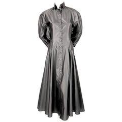 1980's AZZEDINE ALAIA seamed gunmetal silk dress