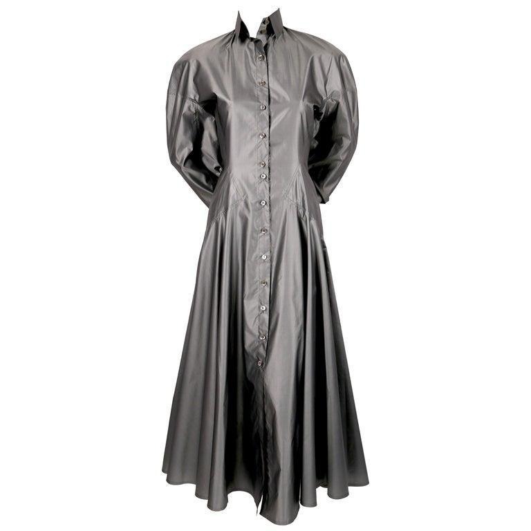 1980's AZZEDINE ALAIA seamed gunmetal silk dress For Sale