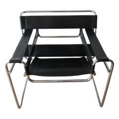 1980s B3 Wassily Chair Black Leather Marcel Breuer for Fasem, Italy, Bauhaus A