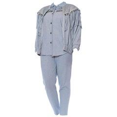 1980'S Baby Blue & Silver Cotton Lurex Knit Jersey Shirt, Pants Fringed Jacket