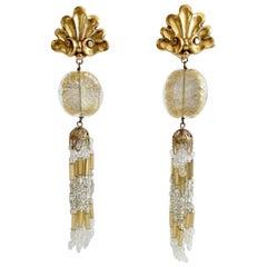 1980s Babylone Paris Beaded Dangle Earrings