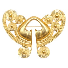 1980s Balenciaga Gold Vintage Aztec Design Brooch