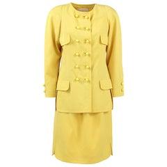 1980s Balenciaga Les Dix Yellow Wool Skirt Suit