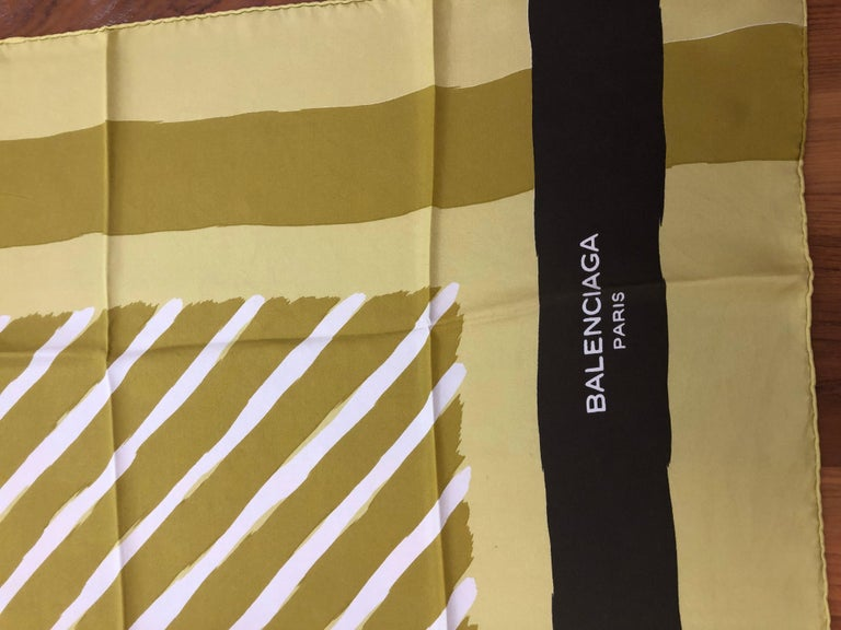 Lovely geometrical pattern silk scarf from Josephus Melchior Thimister for Balanciaga in excellent vintage condition. Nice plump hand rolled hems. Please note that the acid green is much brighter than the pictures.