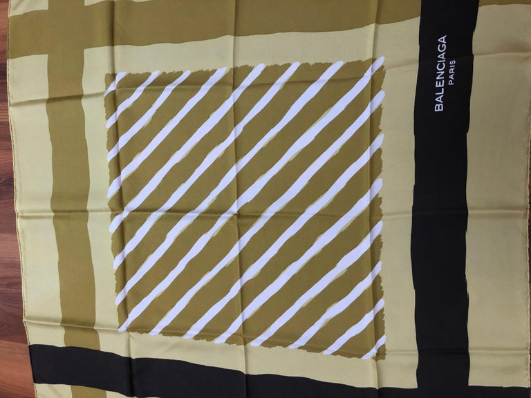 1980s Balenciaga Mustard Yellow/Acid Green Silk Scarf 30.5x29.5 In Excellent Condition For Sale In Port Hope, ON