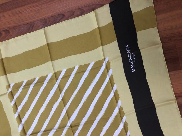 Women's 1980s Balenciaga Mustard Yellow/Acid Green Silk Scarf 30.5x29.5 For Sale