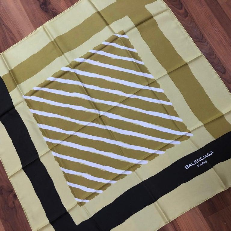 1980s Balenciaga Mustard Yellow/Acid Green Silk Scarf 30.5x29.5 For Sale 2