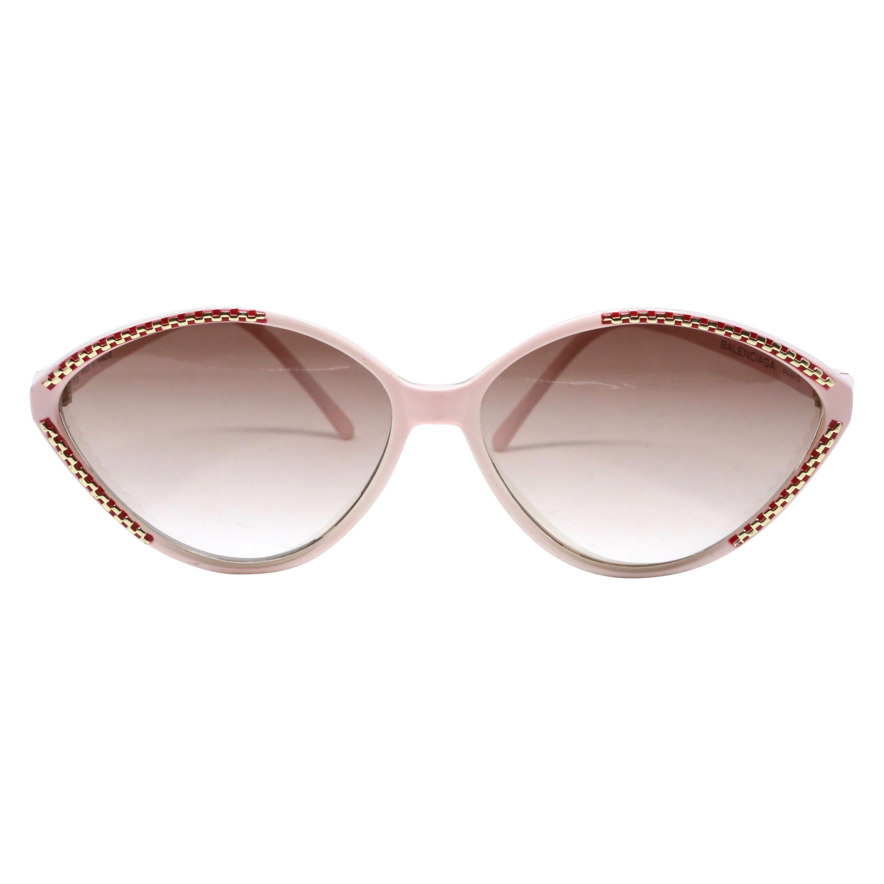 1980's BALENCIAGA pink and burgundy plastic sunglasses with gold accents