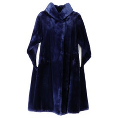 1980s Balzani Blue Beaver Fur Coat