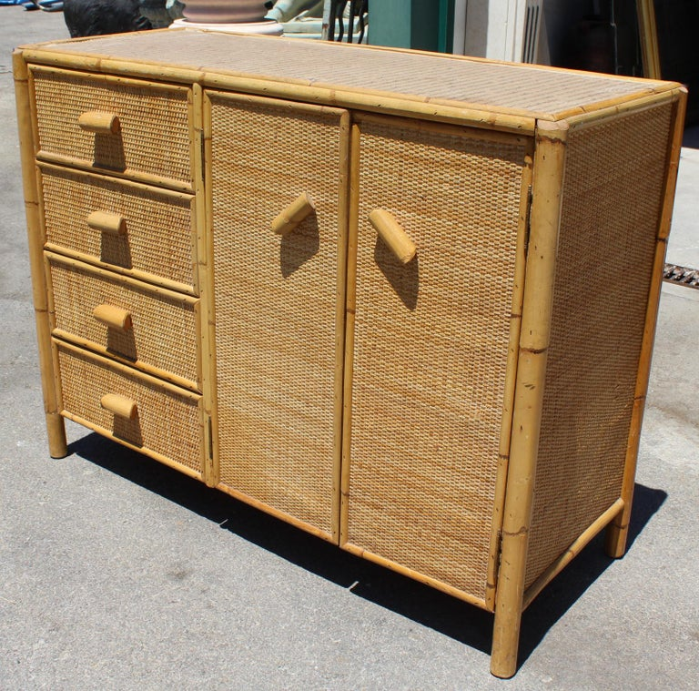 Spanish 1980s Bamboo and Rattan Chest of Drawers