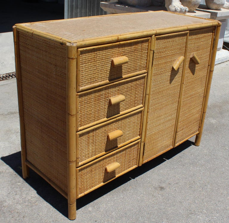 1980s Bamboo and Rattan Chest of Drawers In Good Condition In Malaga, ES