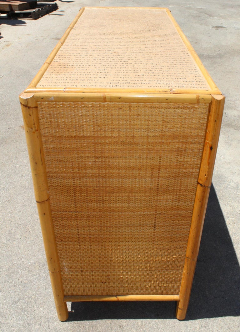 20th Century 1980s Bamboo and Rattan Chest of Drawers