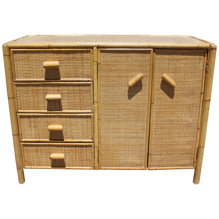 1980s Bamboo and Rattan Chest of Drawers