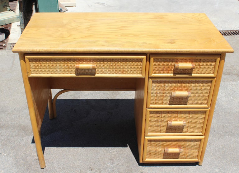 1980s bamboo and rattan desk with drawers.