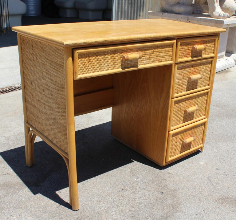 Spanish 1980s Bamboo and Rattan Desk with Drawers For Sale