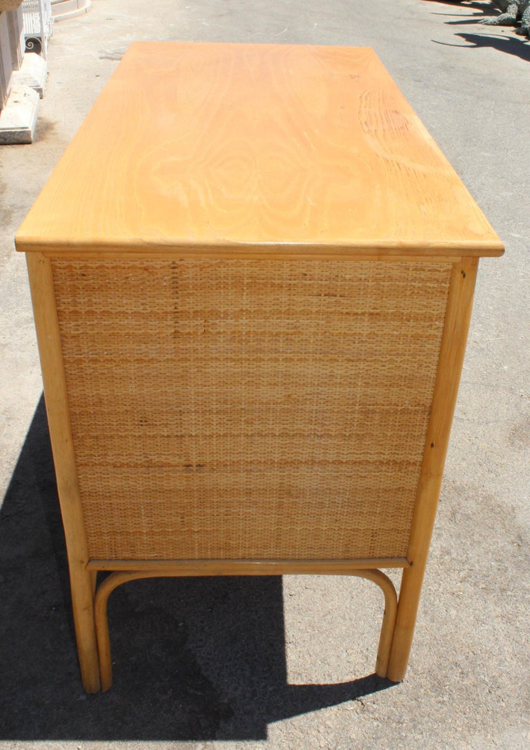 1980s Bamboo and Rattan Desk with Drawers For Sale 1