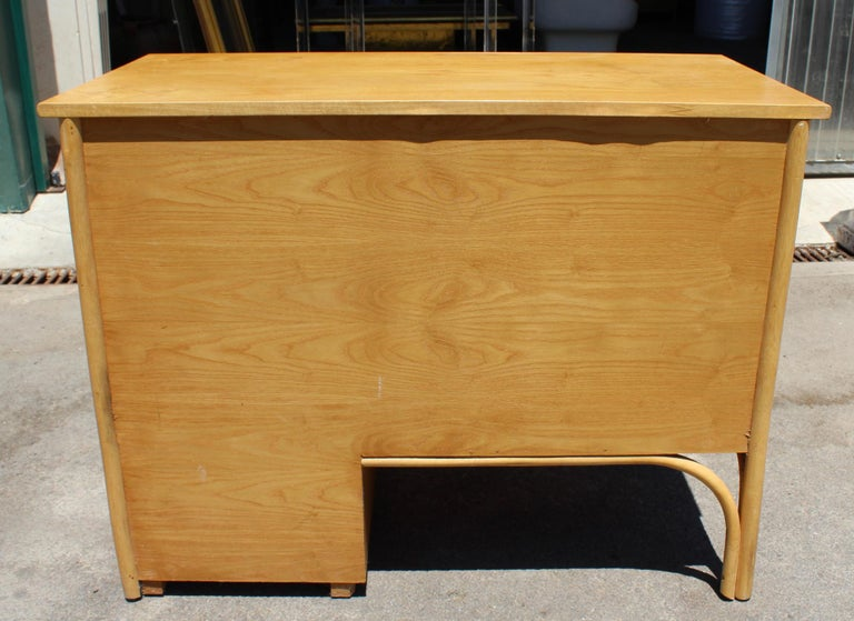 1980s Bamboo and Rattan Desk with Drawers For Sale 2