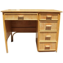 1980s Bamboo and Rattan Desk with Drawers
