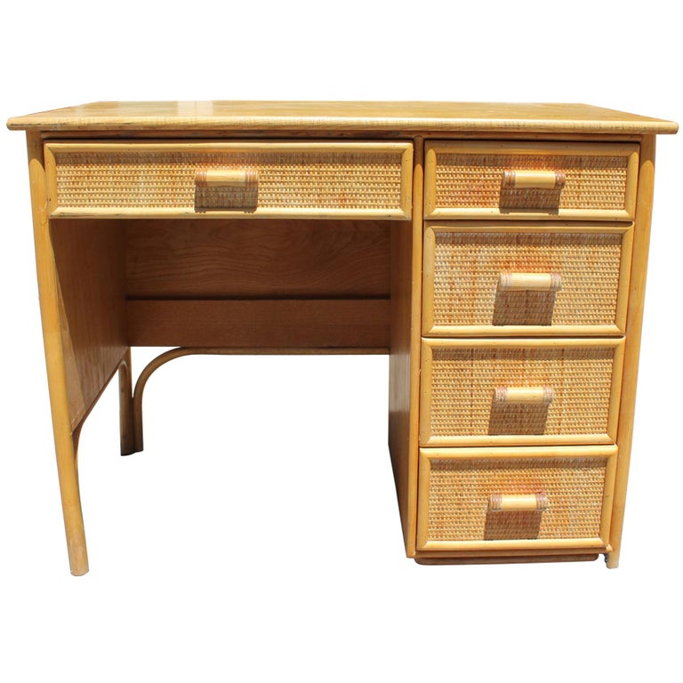 1980s Bamboo and Rattan Desk with Drawers For Sale