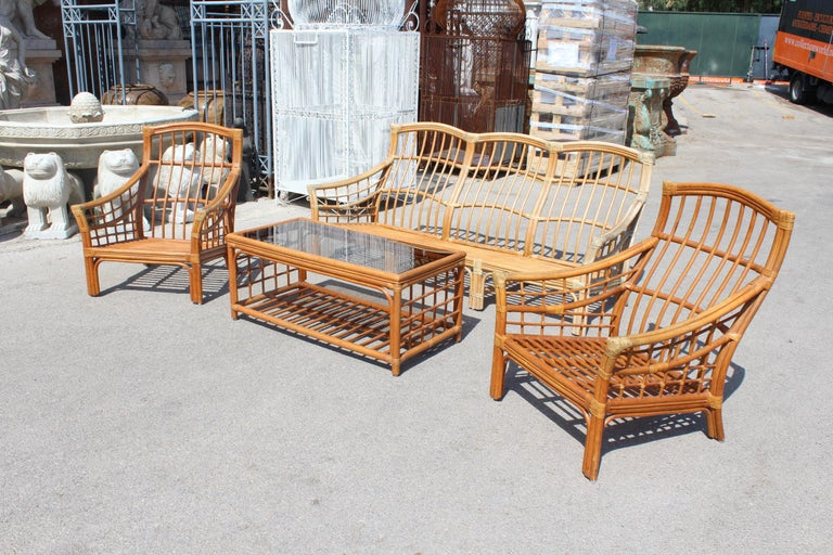 1980s Bamboo Garden Furniture Set For