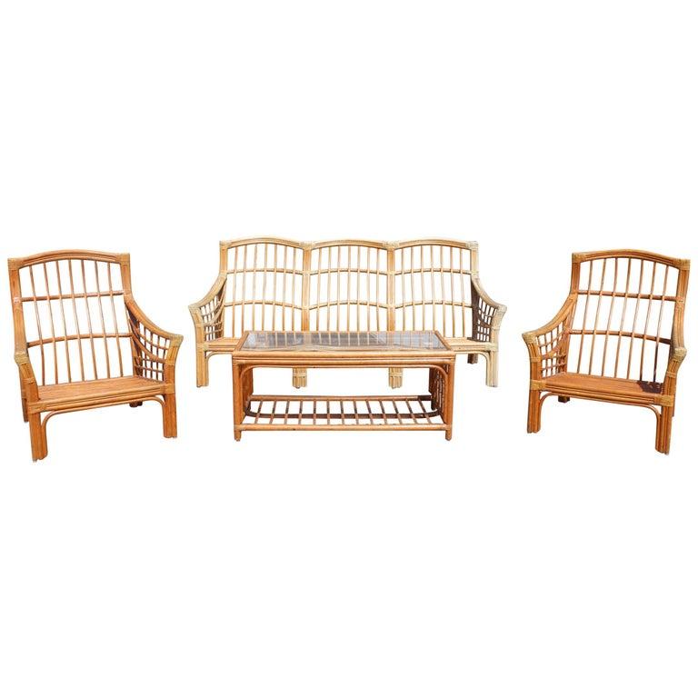 1980s Bamboo Garden Furniture Set For