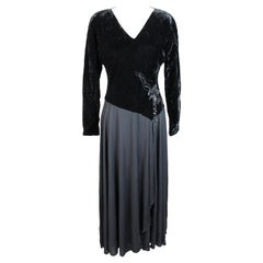 1980s Basile Black Velvet Evening Gowns Cocktail Long Dress